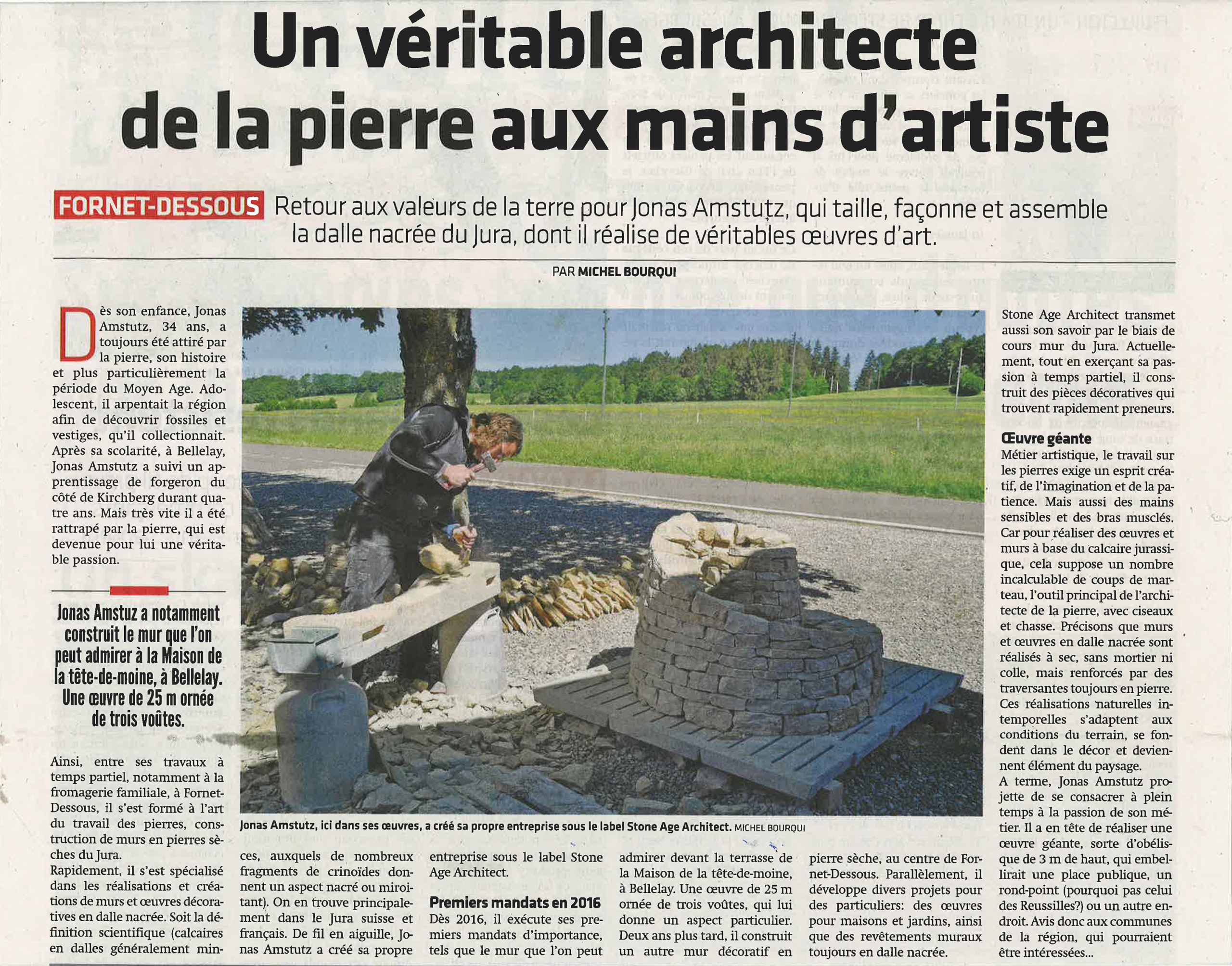 Artikel im Jurnal du Jura über Jonas Amstutz und Stone Age Architect